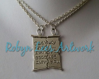 Silver Dear My Angel I Miss You Because I Love You Split Letter Necklace Set of 2 Necklaces on Silver Crossed Chain