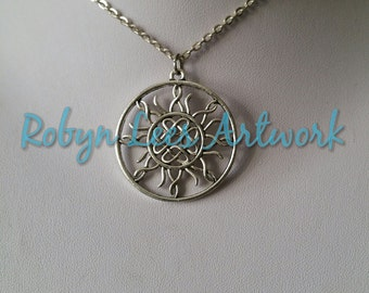Silver Celtic Tribal Filigree Sun Style Medallion Necklace on Silver Crossed Chain or Black Faux Suede Cord. Wiccan, Pagan, Nature, Costume