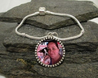 25mm Round Custom Photo Bracelet, Charm Bracelet, Personalized Bracelet