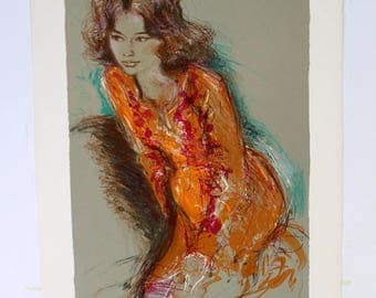 Jacques Pecnard Signed & Numbered Portrait of Woman in Orange Dress 147/250