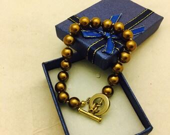 Vintage Carolee Bronze Bead T Clasp Bracelet