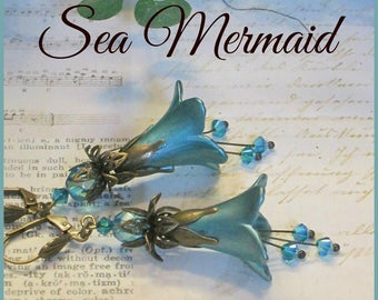 SEA MERMAID Lucite Trumpet Flower Earrings, Hand Painted, Victorian Earrings, Swarovski, Blue, Long Dangle, Bridesmaid Earrings, Ravengirl