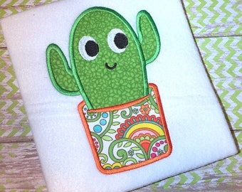 Cactus applique embroidery design - succulent appliqué design - plant appliqué design - cactus appliqué design