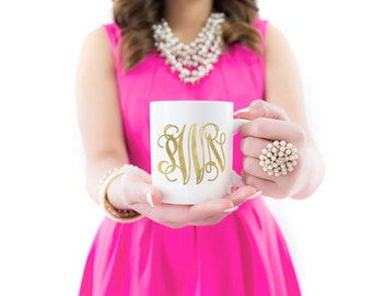 Monogram Coffee Mug | Gold Foil | Coffee Mug | Gift for Her