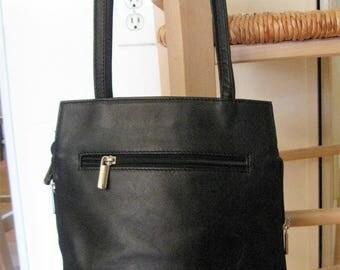 Vintage Beautiful Rialto Soft Black Italian Leather Purse Bag Satchel Mint!
