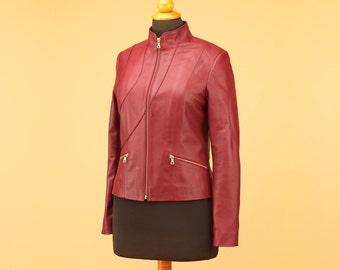 Burgundy jacket, leather jacket, women jacket, stylish jacket, winter jacket, fashion jacket, modern jacket, burgundy jacket