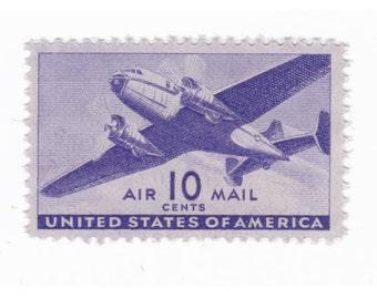 5 Unused Vintage Postage Stamps - 1941 10c Twin-Motor Transport - Item No. C27