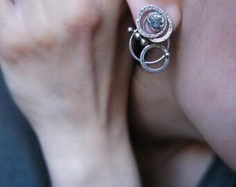Sterling silver ear jackets, raw diamond earrings, mismatched earrings, cosmic earrings, circle earrings, rough diamond earrings, ear cuff