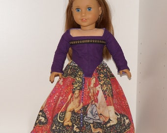 "American Girl Purple Unicorn dress outfit gown medieval renaissance Elf for 18"" doll"
