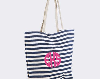 Navy Striped Canvas Tote Bag with Embroidery Personalization