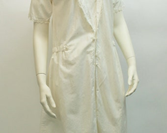White cotton 1920s summer dress