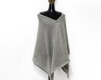 Linen shawl. Grey linen shawl. Linen wrap. Women scarf. Summer scarf. Linen scarf. Natural linen scarf. Linen scarves. Linen. Gift for her