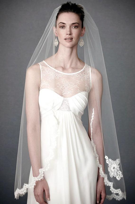 Lace Wedding Veil, Alencon Lace Veil, Applique Veil,   Fingertip Veil, Lace Veil, Short Veil, Bridal Veil- ADELE VEIL