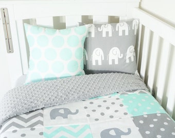 Mint and grey elephant patchwork nursery items (grey minky quilt backing)