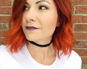 Black Scalloped Velvet Choker Necklace