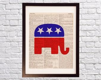 Republican Elephant Dictionary Art Print - GOP Art - Political Print - Print on Vintage Dictionary Paper - Grand Old Party, Washington DC
