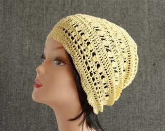 Summer yellow cotton crochet knit Slouchy Beanie hat , womens summer hats