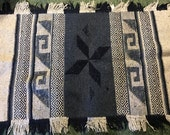 Mexican Hand Woven Southwest Rug/Blue White Navy/Native American/Heavy Cotton/Rustic/Boho/Geometric/Wall Hanging/1970s 80s/35 x 60 Inches