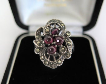 Art Deco Ring With Almandine Garnets Sterling Silver and Marcasites, Size O 1/2 Ring/ US Size 7 1/2