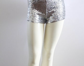 RAD 90's Vintage Silver Sequined Hot Pants