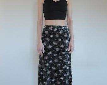 90's crushed velvet floral long grunge maxi skirt