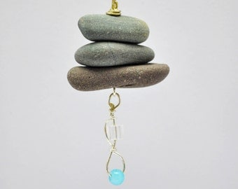 Stone Pendant - Beach Stone Necklace -  Cairn Jewelry