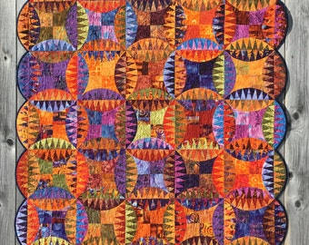 Indian Orange Peel Quilt // Pickle Dish Quilt // New York Beauty // Art Quilt // Handmade Quilt // Patchwork Quilt // PettyQuilt Junction