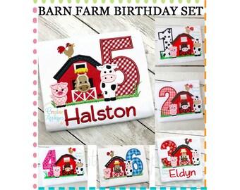 Barn Birthday Number Set Digital Machine Embroidery Applique Design 4 sizes, barn applique, barn farm animals applique, 1 thru 6 birthday