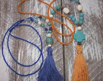 long beaded tassel necklaces seed bead necklace tassels bohemian chic junk gypsies boho yoga modern long beaded necklace colorful tassels