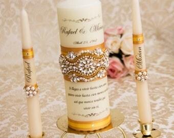 Gold Unity Candle Set Gold Wedding Unity Candles Gold Wedding Candle Personalized Unity Candle Rhinestone Unity Candle