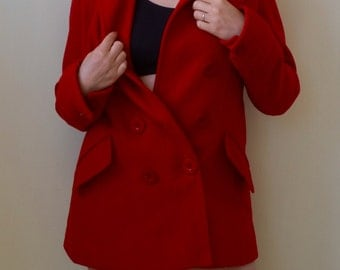 Bright red, double breasted wool peacoat- S/M