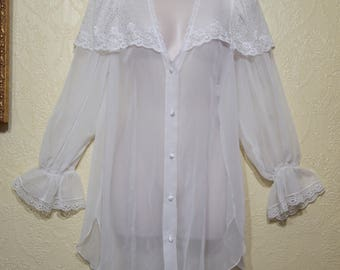 MISS DIOR lingerie WHITE sheer Chiffon and White Lace night shirt