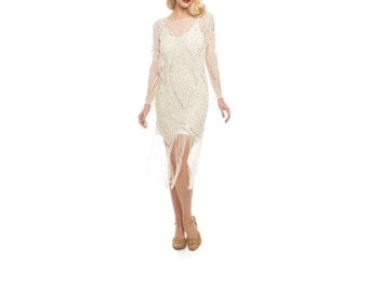 Betty Ivory Gold Fringe dress with Sleeves with Slip 20s inspired Flapper Great Gatsby ArtDeco Charleston Downton Abbey Bridesmaid