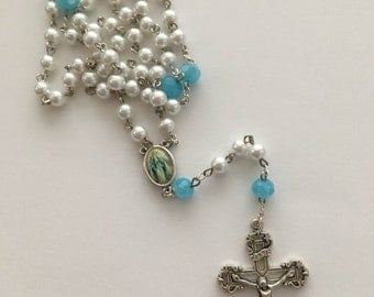 Catholic Pearl and Blue Rosary with Our Lady of Grace Centerpiece