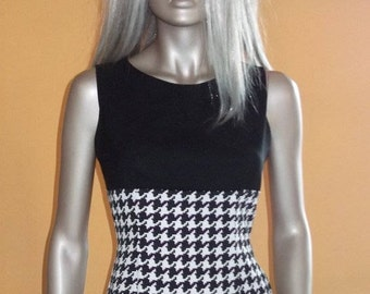 houndstooth sheath dress, sleeveless dress, sheath optical, black and white dress