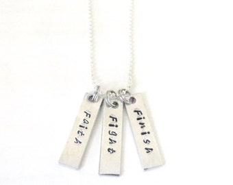 Faith Fight Finish Hand Stamped Inspirational Athletic Religious Charm Necklace YOU Select Chain Length