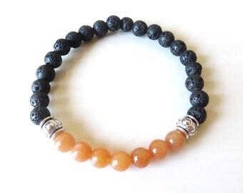 Chakra Bead Orange Aventurine Lava Bead Essential Oil Aromatherapy Yoga Relaxation Therapeutic Stretch Bracelet