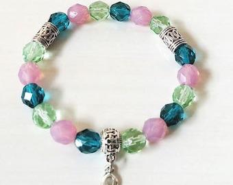 Metatasic Breast Cancer Awareness Ribbon Infinity Glass Beaded Stretch Bracelet