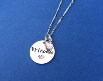Princess Necklace - Personalized Jewelry - Hand Stamped - Crown Necklace - Little Girl Jewelry - Girl Necklace - Daughter Gift - Sister Gift