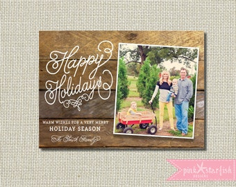 Christmas Card, Holiday Card, Rustic Christmas Card, Wood Christmas Card, Wood Plank, Vintage Holiday Christmas Card, Photo