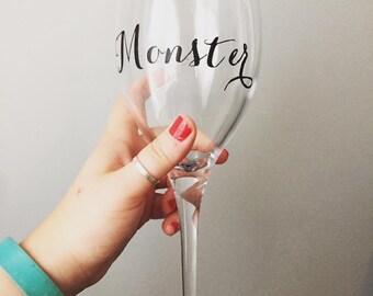 Glitter Base Monster Wine Glass