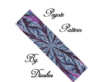 Peyote Beading pattern Bracelet Abstract Flower, Even cuont 2 drop peyote stitch, seed bead pattern, beading patterns, peyote pattern