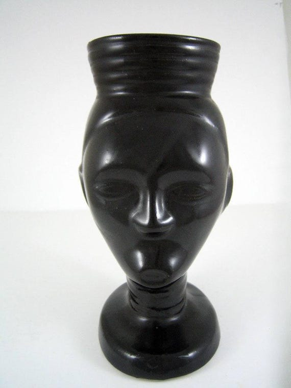 1963 Trader Vics Coffee Grog Short Headdress Tiki Mug Black Ceramic