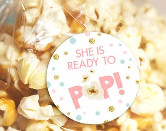 She's Ready to pop stickers Ready to pop tags Popcorn tags Cupcake Toppers Pink Gold mint Confetti Baby Shower Stickers Digital PRINTABLE