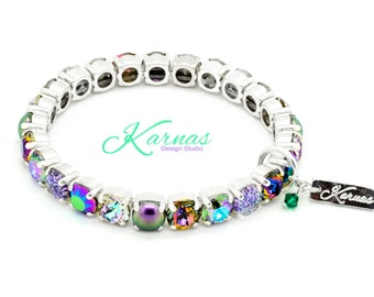 MIAMI NIGHTS 8mm Crystal Pearl & Chaton Stretch Bracelet Made With Swarovski Elements *Pick Your Finish *Karnas Design Studio™ Free Shipping