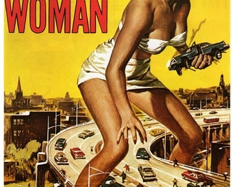 "Vintage Horror Science Fiction Movie Poster Print, 1957, Attack of the 50 FT. Woman, PMSF 8"" x 10"""