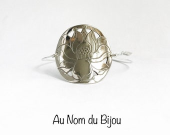 Bronze white silver lotus flower bracelet