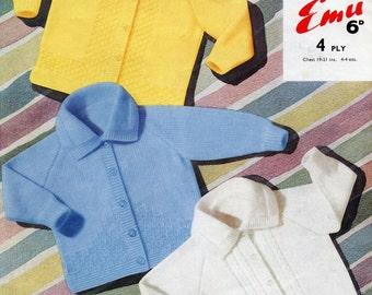 Three Jackets for Baby, Original Vintage Knitting Pattern, Emu 8013