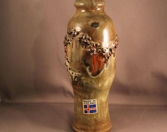 Unique 50s 60s Vintage Fantastic Fat CLIT Lava ICELAND Vase String Era Mid Century Modern Arts & Crafts Pottery Design Marked labeled rare