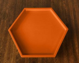 Orange Hexagonal Tray, Orange Serving Tray, Orange Ottoman Tray, Halloween Serving Tray